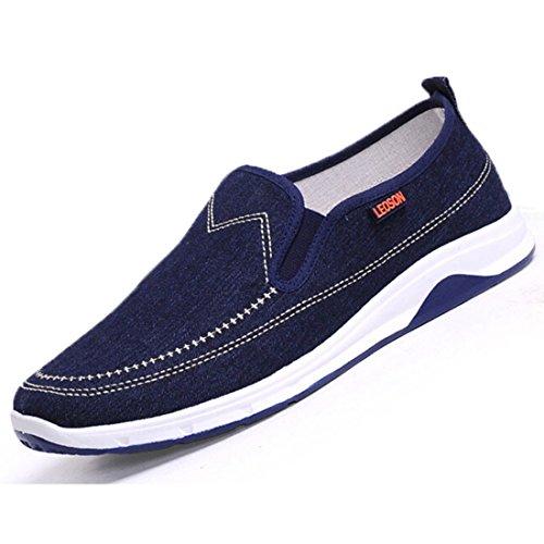 Men's Peking Comfortable Slip On Canvas Shoes Dark Blue