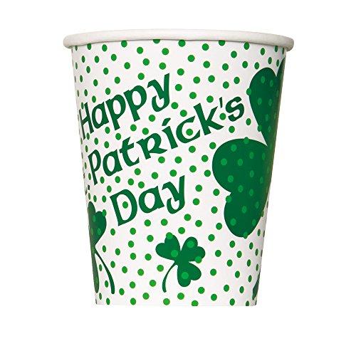 Unique Party Supplies 266ml Lucky Shamrock St. Patrick 's Day Pappbecher, 8Stück