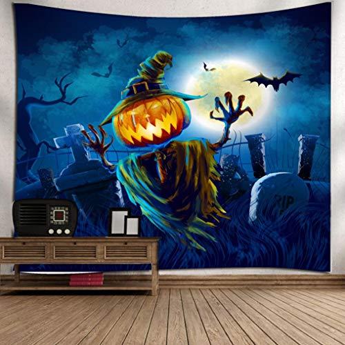 (OverDose Damen Halloween Mond Kürbis Tapisserie Zimmer Bar Party Überraschung Tagesdecke Wand Kunst Hänge Home Decor Grand)