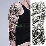 ljmljm 5 pz Adesivo Tatuaggio Impermeabile Aquila Casco Maschera Guerriero Spada Croce Braccio Pieno Tatto Manica Tatoo per Uomo Donna Verde 48x17 cm