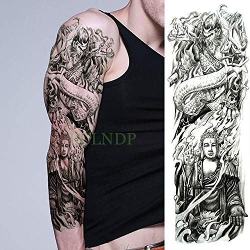 ljmljm 3 Piezas Etiqueta engomada del Tatuaje a Prueba de Agua Tigre Pájaro Pez Flores Tatoo Brazo Completo Tatuaje de Gran tamaño Tatuajes para Hombres Mujeres Plum 48x17 cm