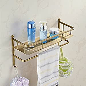Antique Style Antique Brass Bathroom Shelf With Towel Bar Kitchen Home