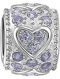 Soufeel Weiß Kristall Herz Damen-Bead 925 Sterling Silber Charms Beads