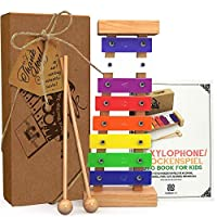 AGREATLIFE Wooden Xylophone for Kids with Songbook