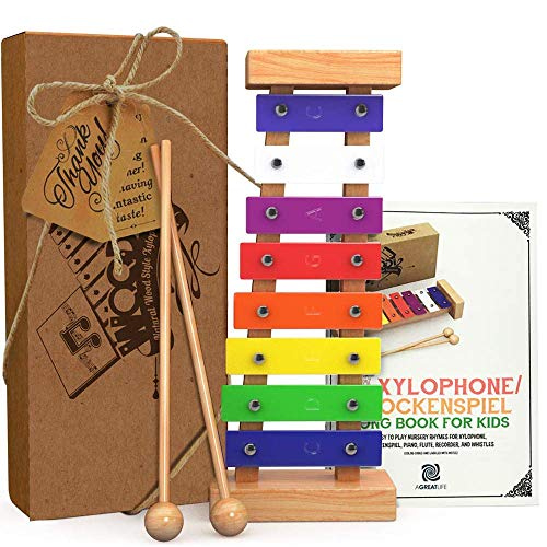 AGREATLIFE Xylophon Kinder Holz mit Notenbuch gestimmt - Holzinstrument zum Musizieren für Kinder - Musikspielzeug mit farbigen Klangpaletten - Xylophon Baby Schlaginstrument - Feinmotorik Förderung
