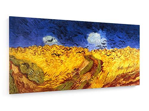 Vincent Van Gogh - Kornfeld mit Krähen - 1890-100x50 cm - Leinwandbild auf Keilrahmen - Wand-Bild - Kunst, Gemälde, Foto, Bild auf Leinwand - Alte Meister/Museum -