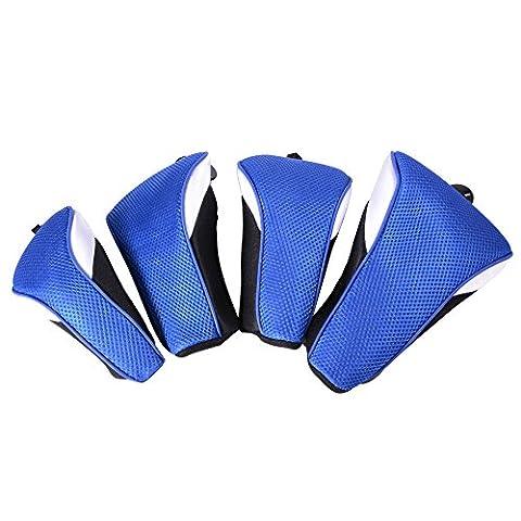 XCSOURCE 4PCS Golf Verein Holz Klinge Kopfbedeckung Kopf Gehäuse Synthetisches Maschenaustausch Schutzstiefel Putter Set Blau OS729