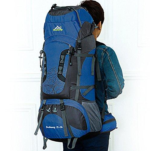 Hjuns 80l zaino da viaggio con grandi aperture, impermeabile, in nylon per campeggio, passeggiate e arrampicata, Orange Dark Blue