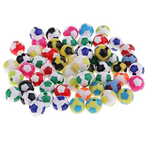 Baoblaze 60 Stück Fußball Perlen gemischte Farbe Bastelperlen für Schmuckherstellung - Farbig