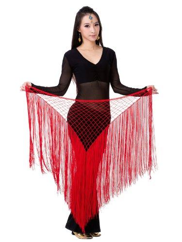 Dance Fairy Bauchtanz Hüfttuch Wrap Gürtel Schal Troddel Tanz Kostüm Zubehör, Rot (Sich Sie Machen Kostüm Es Indischen)
