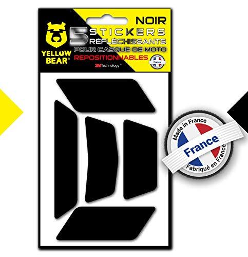 Yellow BearTM Easy Five TM, Kit 5 Stickers Retro réfléchissants REPOSITIONNABLES, pour Casque Moto, 3MTM Technology, Noir