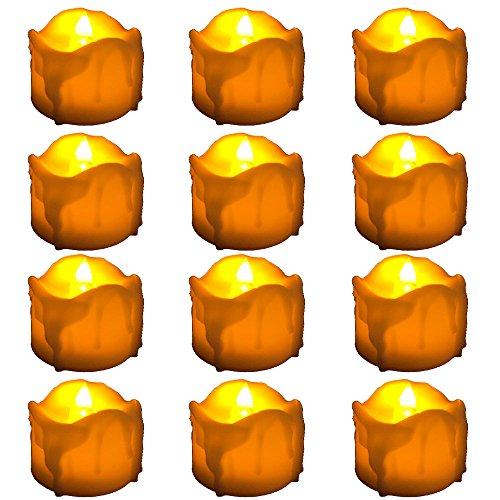 W-top 12pcs Vela LED Sin Llama / Té Luces / Vela Electrica Funcionan con Pilas, brillante parpadeo del bulbo Operado sin llama LED de la luz del té para Estacional y celebración del festival, Perfectas para Valentín,Bodas,Navidad,Reyes Decoraciones