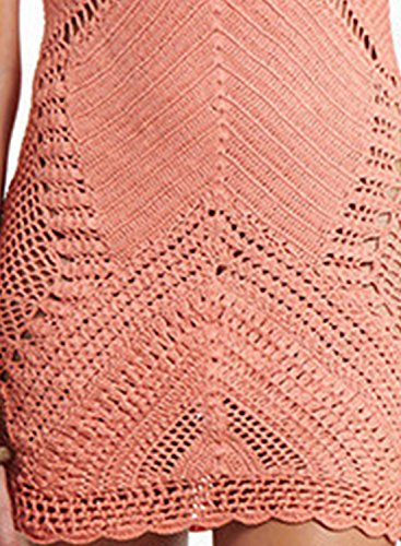 ACHICGIRL Women's Halter Neck Hollow out Crochet Cover-up Dress Flesh Pink