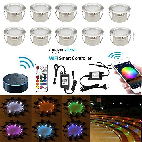LED Bodeneinbauleuchten Arbeitet mit Alexa,IFTTT,Wifi Wireless Smart Phone Ø45mm IP67 Wasserdicht LED Einbaustrahler Full Kit