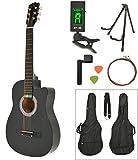 Akustik Western Gitarre Westerngitarre in Schwarz mit Gitarrentasche, LCD Stimmgerät, Gitarrenständer und Zubehör