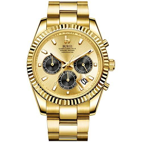 BUREI Orologio cronografo da uomo con quadrante analogico in oro pieno con...