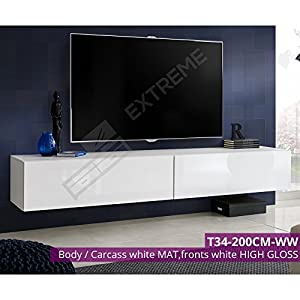 Wall Hanged Unit - TV Cabinet - PuskToOpen - Glossy Fronts - Gas Strut Lid - ?Free&Fast Delivery - ?UK Seller - T34
