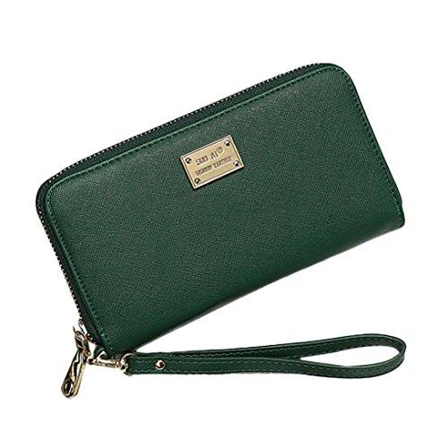 Geldbörse Damen IHRKleid® Leder Elegant Süß Handtasche Portemonnaie Geldbeutel (Grün) (Schulter Kreis Tasche Handtasche)
