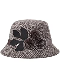 c1ab6afeceb Leisial Women Lady Winter Warm Hat Felt Cloth Soft Basin Cap Elegant Flower  Decoration Design Solid