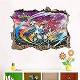 Hcxbb-f Wall Sticker, 60x45cm, 3D Cartoon Pokemon Go Peinture Murale, Chambres d'enfants Décoration Murale Art Pikachu Autocollants DIY PVC Affiches Amovibles De Cadeaux Boy...