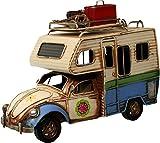 Auto Wohnmobil aus Metall hellblau mit Rahmen Camper PKW Oldtimer Nostalgie