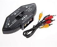 Amazingdeal365 Amazingdeal 3-Way Audio Video Av Rca Switch Selector Box Splitter With/3Rca Cable Black