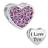 PoeticCharms Herz Liebe Wife/Mom/I Love You 925 Sterling Silber Charm Beads für Armband 925 Sterling Silber