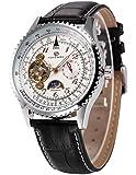 AMPM24 Tourbillon Automatic Sun/Moon 24 Hours Mechanical Men's Black Leather Wrist Watch PMW387