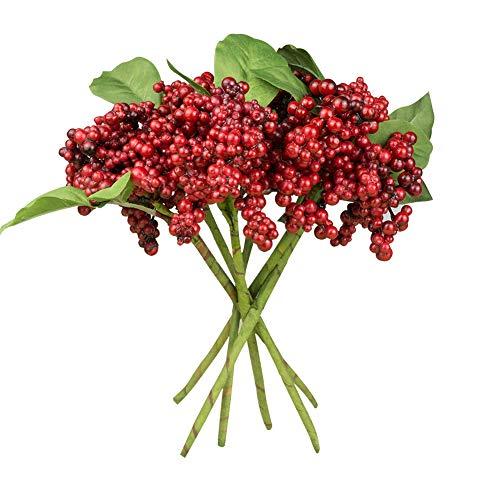 DECONEXT Künstliche Blumen California Beeren, 6 Stück rot