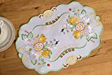 Oster-Tischläufer, Tischdecken, Tischsets mit gesticktem Muster, rund, oval, rechteckig, alle Größen, weiß, Oval 30 x 45cm
