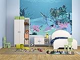 Selbstklebende Fototapete - Kinderbild - Hai mit Schiffswrack - Pastell - 150x100 cm - Poster – Dekoration – Wandbild – Wandposter – Wand - Wanddeko