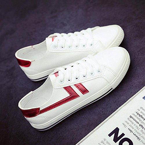 Heart&M Damen Low Top flache Unterseite Lace-Up beiläufige Segeltuch-Skate-athletische Schuhe Flats Sneakers white red