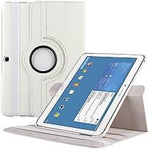 EnGive–Funda de piel sintética rotación de 360grados para Samsung Galaxy Note blanco Samsung Galaxy Tab 4 10