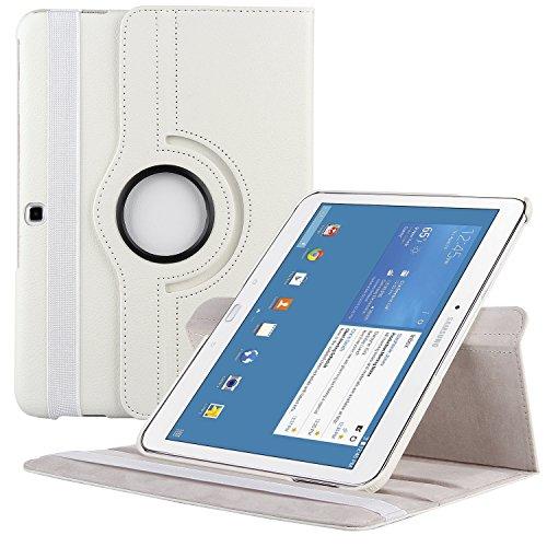 EnGive 360°Drehbares Ledertasche Samsung Galaxy Tab 4 10.1 Hülle (10,1 Zoll) Schutzhülle Case Tasche mit Ständerfunktion Auto Sleep/Wake-Funktion (Samsung Galaxy Tab 4 10.1, Weiß)