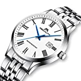 Herren Uhren Männer Wasserdicht Luxus Sport Dünne Edelstahl Silber Armbanduhr Mann Einfach Datum Kalender Analoge Römische Ziffern Uhr