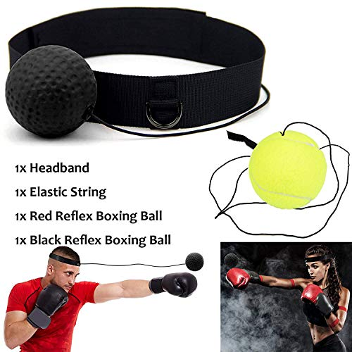 Xnature Boxen Training Ball Reflex Fightball Speed Fitness Punch Boxing Ball mit Kopfband, Trainingsgerät Speedball für Boxtraining Zuhause und Outdoor (Schwarz + Grün) (2-ball-kopf)