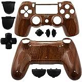 GAMINGER Austauschgehäuse für Sony PlayStation 4 Dualshock 4 Controller Schale Shell Case Housing Kit Hülle Set Skin Zubehör Custom Mod Tuning - Holzoptik