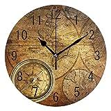 Use7 Home Decor Vintage Weltkarte Kompass Kunstwerk Runde Acryl Wanduhr Nicht tickend leise Uhr Kunst für Wohnzimmer Küche Schlafzimmer