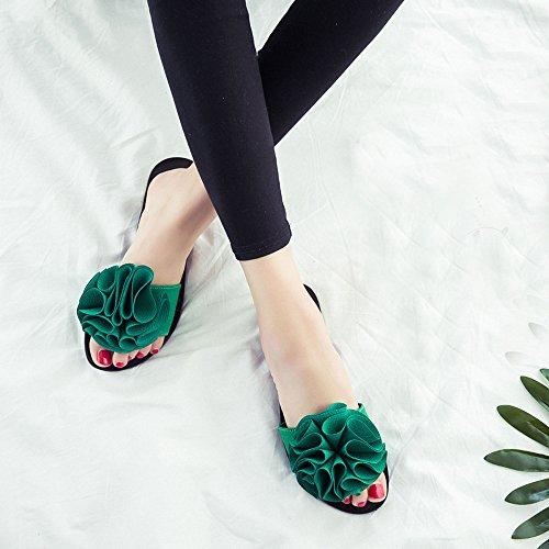 Damen Hausschuhe, FEITONG Frauen Schuhe Peep-Toe Römische Sandalens Damen Flip Flops Grün