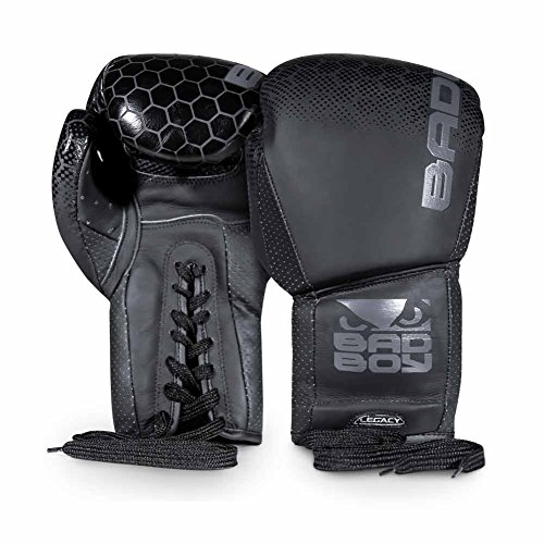 Bad Boy Legacy 2.0 Boxing Gloves - Lace Up-Black-10oz