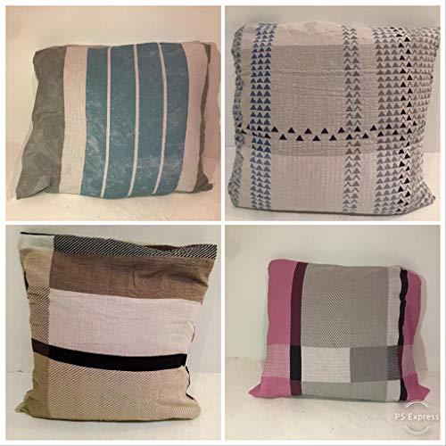 Marico London limited Seersucker Taie d\'oreiller décorative pour Chambre à  Coucher et Salon Rose/Blanc/Gris, 80 x 80 cm