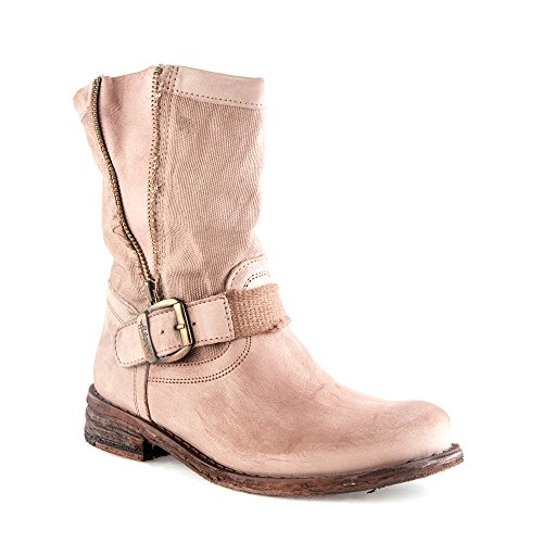 Felmini - Damen Schuhe - Verlieben Gredo 7892 - Cowboy & Biker Stiefel - Echte Leder + Leinwand - Hellbraun - 0 EU Size Hellbraun