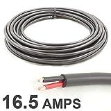 Câble rond bifilaire - câble à deux âmes - 12V - 24V - Fil à paroi mince (16,5A nominale, 1 mm²) - De 10m de long