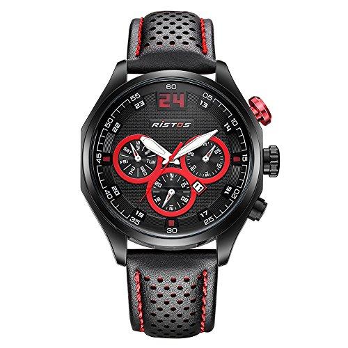 iLove EU Herren Armbanduhr Sportuhr Analog Quarz Leder 30M Wasserdicht LED-Licht Datum Rot Schwarz WHLSS009-2 -