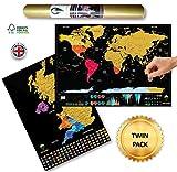 Global Walkabout - Mappa del Mondo e del Regno Unito da grattare, con Sfondo colorato, Formato da Viaggio Nero