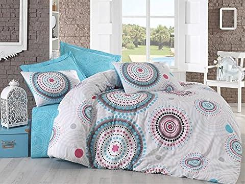 Cotton Box 100% Cotton Duvet Cover Bedding Set Bed Linen in Luxury Box (Double, Bret Turquoise)