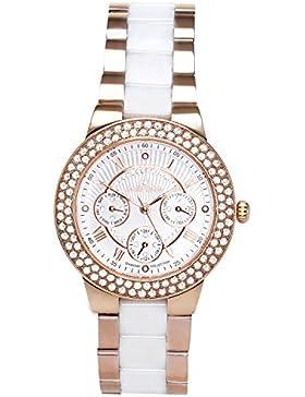 Stella Maris Damen-Armbanduhr Weiß Analog Quarz Premium Keramik Diamanten - STM15S5