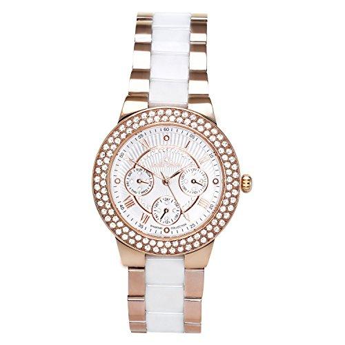 Stella Maris STM15S5 -Women's Watch - White Watch Dial - Analog Quartz - White Ceramic Bracelet - Diamonds - Swarovski Elements - Stylish - Classy
