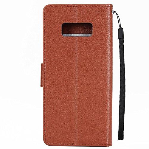 Klassische Premiu PU Ledertasche, Horizontale Flip Stand Case Cover mit Cash & Card Slots & Lanyard & Soft TPU Interio Rückseite für Samsung Galaxy S8 ( Color : White ) Brown