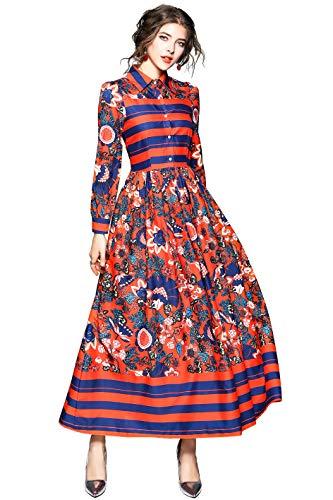 LAI&MENG Damen Vintage Maxikleid mit Paisleymuster A-Linie Casual Lang Kleid Partykleid Knopfleiste vorne Elegant